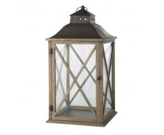 Lanterna grigiastra da giardino in legno H 72 cm LEONTINE