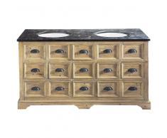 Mobile in legno e marmo per doppio lavandino L 160 cm St Quentin