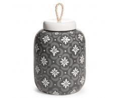 Vaso potiche in terracotta grigio/bianco H 27 cm FIGARI