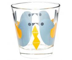 Bicchiere con motivi a uccello blu in vetro