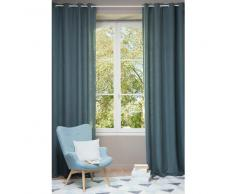 Tenda in lino slavato blu petrolio con occhielli 130 x 300 cm