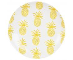 Piatto piano in maiolica bianco a motivi ananas