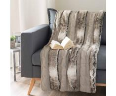 Plaid color talpa lavorato a maglia e simil pelliccia 125 x 150 cm STOCKHOLM