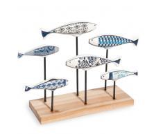 Statua banco di pesci in ceramica H.20 cm ESCALES