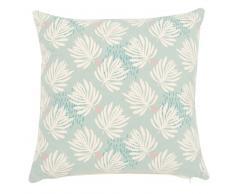 Fodera di cuscino in cotone blu stampa foglie, 40x40 cm