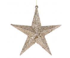 Decorazione sospesa natalizia stella dorata con paillette