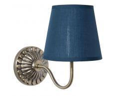 Applique in metallo con abat-jour blu H 30 cm ORNELLA