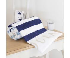 Telo da bagno blu a righe in cotone 100x150 OCÉAN