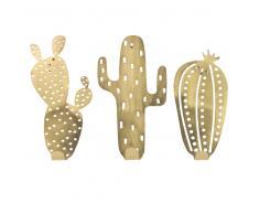3 attaccapanni cactus in metallo dorato