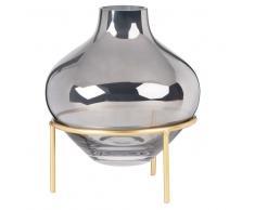Vaso in vetro colorato blu-grigio e piedistallo in metallo dorato