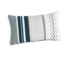 Fodera di cuscino in cotone bianco e blu 50x30 cm AVOLA
