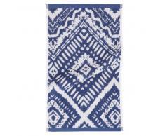 Asciugamano in cotone blu a motivi grafici, 30x50