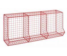Scaffale 3 scomparti in filo di metallo rosso CIRCUIT