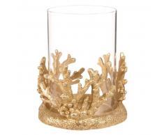 Candeliere corallo in vetro e resina dorata