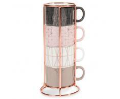 4 tazze da caffè in maiolica + supporto MODERN COPPER