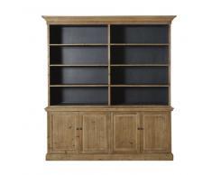 Piattaia a 4 ante e 6 scaffali in legno di pino riciclato Spinoza