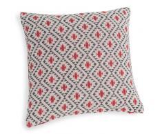 Fodera di cuscino rossa in cotone a motivi 40 x 40 cm JEMA