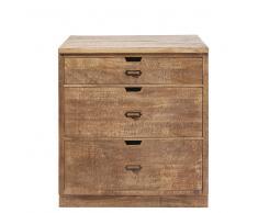 Mobile basso da cucina a 3 cassetti in legno massello di mango Melchior