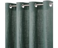Tenda con occhielli in lino lavato verde basilico, 130x300 cm