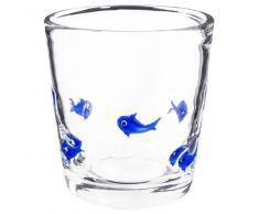 Bicchiere in vetro con motivi di pesci blu