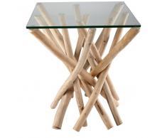 Tavolino da salotto in vetro e rami di teak ALGA