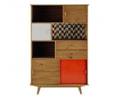 Libreria vintage grigia/arancione in legno L 116 cm Paulette