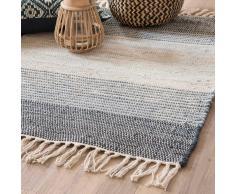 Tappeto intrecciato in cotone tricolore a righe 90x60 cm THALA