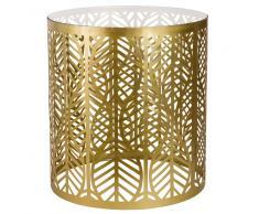 Tavolino da salotto in metallo dorato e vetro