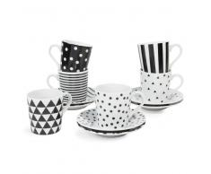 Set 6 tazze e piattini in porcellana DRESSING