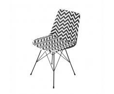 Sedia nera/bianca in resina intrecciata e metallo Zigzag