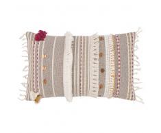 Fodera di cuscino ricamata in cotone grigio, 30x50