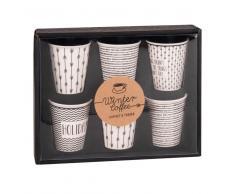 6 tazze in porcellana bianche con motivi neri