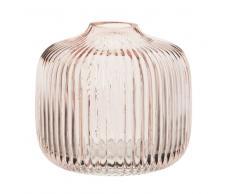 Vaso in vetro striato colorato rosa, 11 cm
