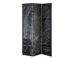 Paravento cartina di New York bianca e nera