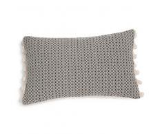 Fodera di cuscino bicolore a pompon 30 x 50 cm ETNA