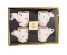 Set 4 tazze in porcellana manici animali