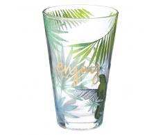 Bicchiere da birra in vetro con stampe tropicali ENJOY TROPICAL
