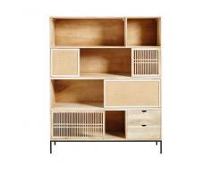 Libreria a 4 ante e 2 cassetti in legno massello di mango Helios