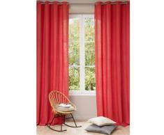 Tenda rossa in lino slavato con occhielli 140 x 300 cm