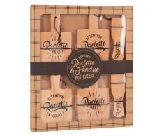 Set tegami per raclette in legno di faggio stampato