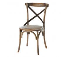 Sedia in rattan e massello di quercia effetto anticato Tradition