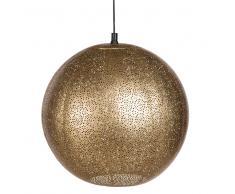 Lampada a sospensione a sfera in metallo traforato dorato