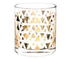 Bicchiere in vetro con motivi triangolari dorati TRIANGLE