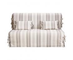 Fodera a righe beige/avorio in cotone per divano letto Elliot