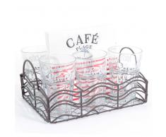 Cestino + 6 bicchieri + 20 salviette di carta CAFÉ PLAGE