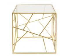 Tavolino da salotto in vetro e metallo dorato