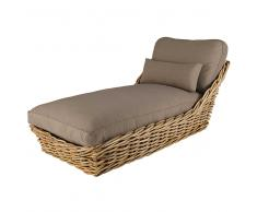Chaise longue da giardino in rattan e cuscini color talpa St Tropez