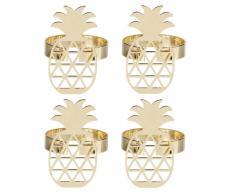 4 anelli portatovaglioli ananas in acciaio dorato