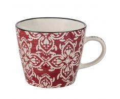 Tazza in maiolica con motivi floreali rossa