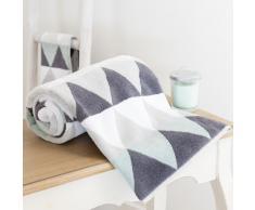 Telo da bagno bianco/grigio in cotone 100 x 150 cm TRIANGLE